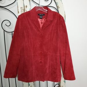 Parisian red suede leather blazer large